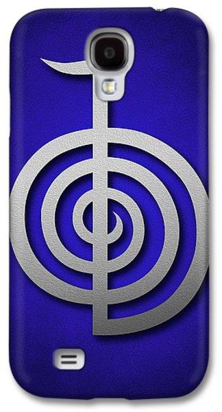 Inner Self Galaxy S4 Cases - Cho Ku Rei - silver on blue Reiki Usui symbol Galaxy S4 Case by Cristina-Velina Ion