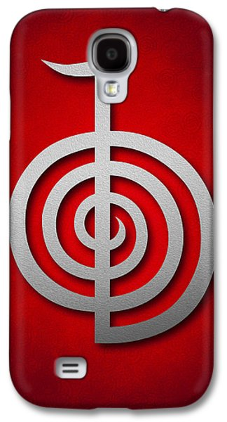 Inner Self Galaxy S4 Cases - Cho Ku Rei - silver on red Reiki Usui symbol Galaxy S4 Case by Cristina-Velina Ion
