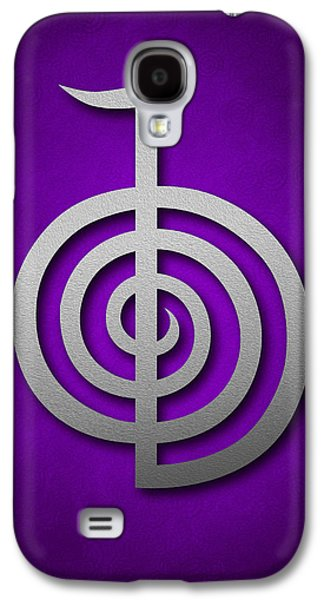 Inner Self Galaxy S4 Cases - Cho Ku Rei - silver on violet Reiki Usui symbol Galaxy S4 Case by Cristina-Velina Ion