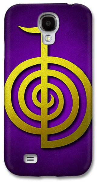 Inner Self Galaxy S4 Cases - Cho Ku Rei - yellow on violet Reiki Usui symbol Galaxy S4 Case by Cristina-Velina Ion