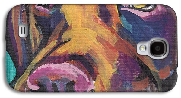Puppy Paintings Galaxy S4 Cases - Choco Lab Love Galaxy S4 Case by Lea