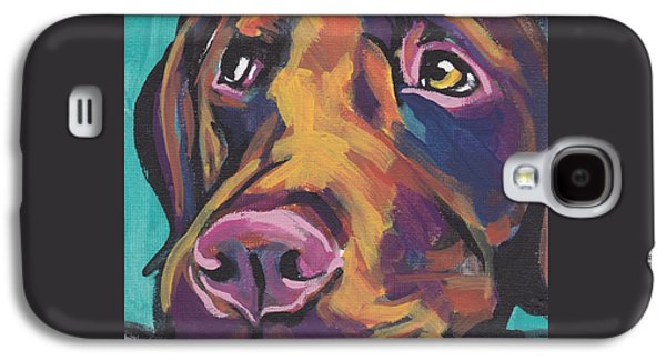 Dog Paintings Galaxy S4 Cases - Choco Lab Love Galaxy S4 Case by Lea