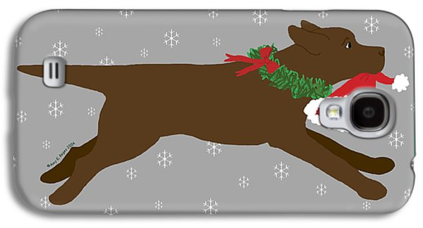 Chocolate Lab Digital Art Galaxy S4 Cases - Chocolate Labrador Steals Santas Hat Galaxy S4 Case by Amy Reges