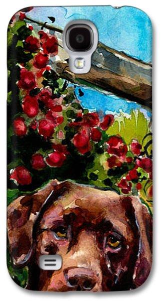 Chocolate Labrador Retriever Galaxy S4 Cases - Chocolate Raspberry Fields Galaxy S4 Case by Molly Poole