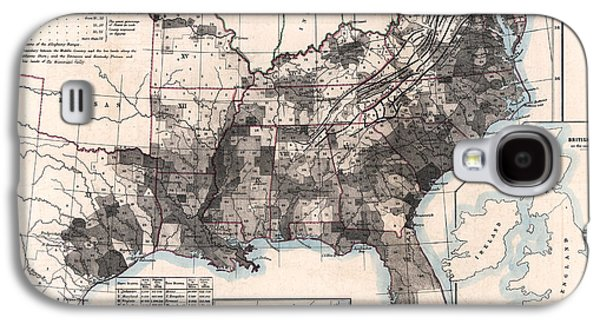 Slavery Paintings Galaxy S4 Cases - Choropleth Map of US Slavery 1860 Galaxy S4 Case by Celestial Images