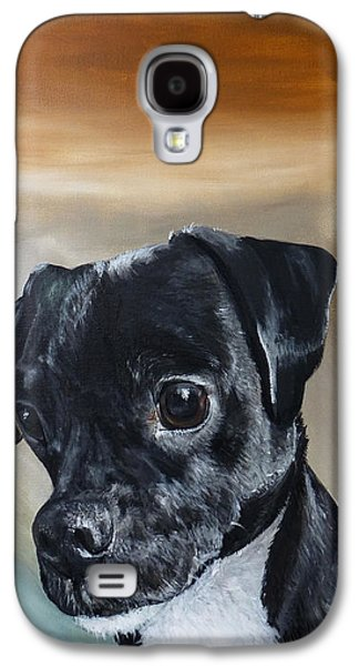 Dog Close-up Paintings Galaxy S4 Cases - Chowder The Pug Rat Terrier Mix Galaxy S4 Case by Michelle Iglesias