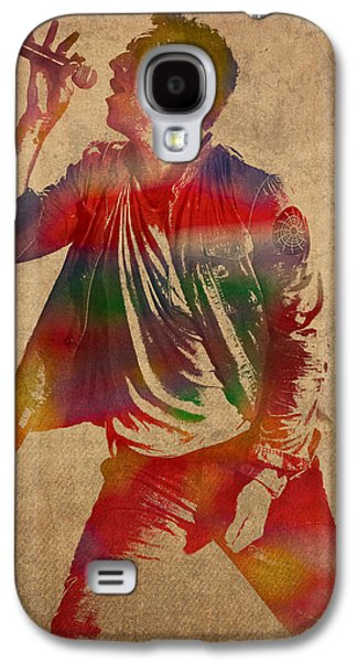 Coldplay Galaxy S4 Cases - Chris Martin Coldplay Watercolor Portrait on Worn Distressed Canvas Galaxy S4 Case by Design Turnpike