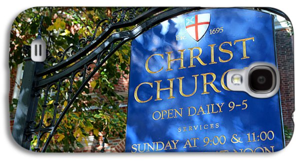 Person Galaxy S4 Cases - Christ Church Sign -- Philadelphia Galaxy S4 Case by Stephen Stookey
