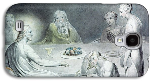 Religious Drawings Galaxy S4 Cases - Christ in the House of Martha and Mary or The Penitent Magdalene Galaxy S4 Case by William Blake