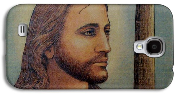 Bible Pyrography Galaxy S4 Cases - Christ with Cross Galaxy S4 Case by Eileen Annest