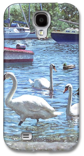 Boats In Harbor Galaxy S4 Cases - Christchurch Harbour Swans And Boats Galaxy S4 Case by Martin Davey