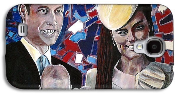 Kate Middleton Paintings Galaxy S4 Cases - Christened Prince George Galaxy S4 Case by Mickton Wellbee