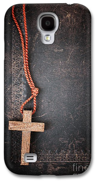 Bible Photographs Galaxy S4 Cases - Christian Cross on Bible Galaxy S4 Case by Elena Elisseeva