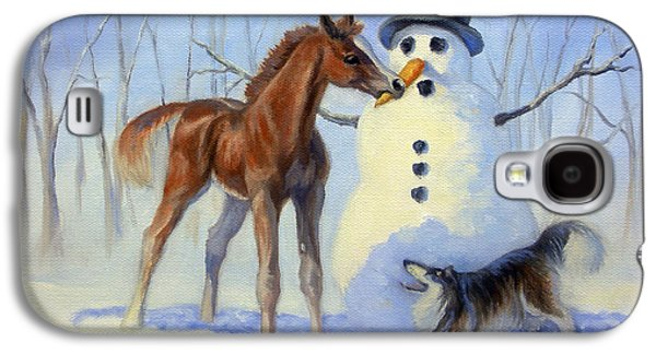 Winter Scene Paintings Galaxy S4 Cases - Christmas Bounty Galaxy S4 Case by Jeanne Newton Schoborg