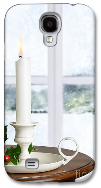 Snow Scenes Galaxy S4 Cases - Christmas Candle Galaxy S4 Case by Amanda And Christopher Elwell