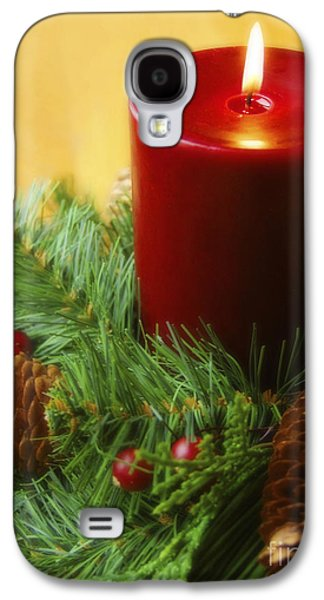 Pine Cones Photographs Galaxy S4 Cases - Christmas Candle Galaxy S4 Case by Diane Diederich
