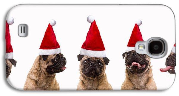 Singing Galaxy S4 Cases - Christmas Caroling Dogs Galaxy S4 Case by Edward Fielding
