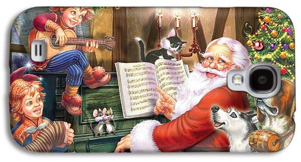 Domestic Digital Galaxy S4 Cases - Christmas Carols Galaxy S4 Case by Zorina Baldescu