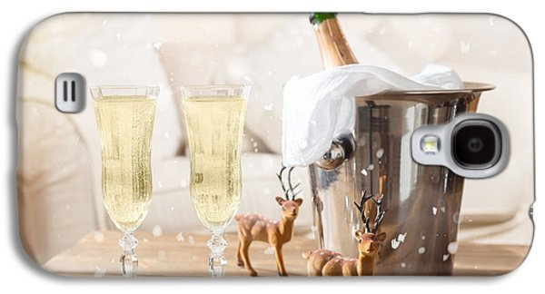 Champagne Glasses Galaxy S4 Cases - Christmas Champagne Galaxy S4 Case by Amanda And Christopher Elwell