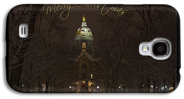 Holy Mother Galaxy S4 Cases - Christmas Greeting Card - Notre Dame Golden Dome In Night Sky And Snow Galaxy S4 Case by John Stephens
