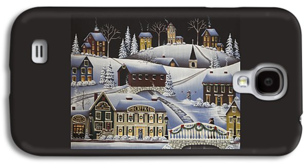 Covered Bridge Paintings Galaxy S4 Cases - Christmas in Fox Creek Village Galaxy S4 Case by Catherine Holman