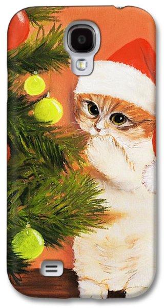 Anastasiya Malakhova Galaxy S4 Cases - Christmas Kitty Galaxy S4 Case by Anastasiya Malakhova