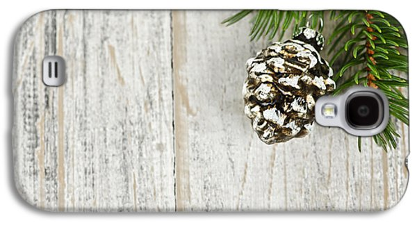 Pine Cones Photographs Galaxy S4 Cases - Christmas ornament on pine branch Galaxy S4 Case by Elena Elisseeva