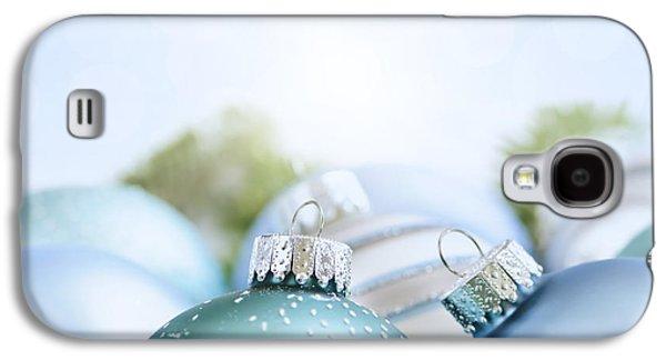 Festivities Galaxy S4 Cases - Christmas ornaments on blue Galaxy S4 Case by Elena Elisseeva