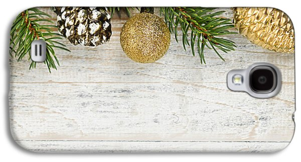 Pine Cones Photographs Galaxy S4 Cases - Christmas ornaments on fir branch Galaxy S4 Case by Elena Elisseeva