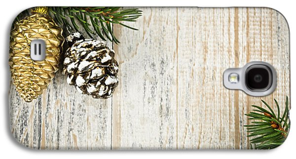 Pine Cones Photographs Galaxy S4 Cases - Christmas ornaments with pine branches Galaxy S4 Case by Elena Elisseeva