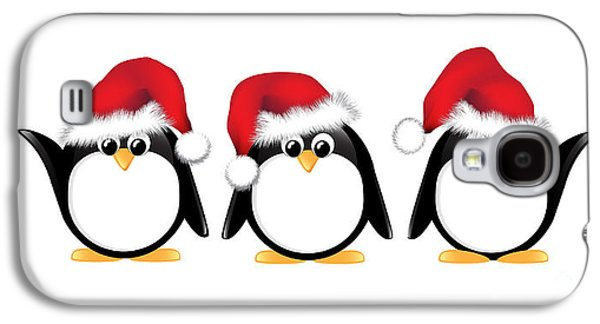 Adorable Galaxy S4 Cases - Christmas penguins isolated Galaxy S4 Case by Jane Rix