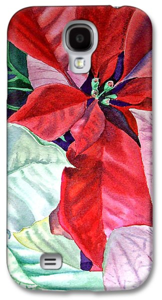 Holiday Paintings Galaxy S4 Cases - Christmas Poinsettia Galaxy S4 Case by Irina Sztukowski