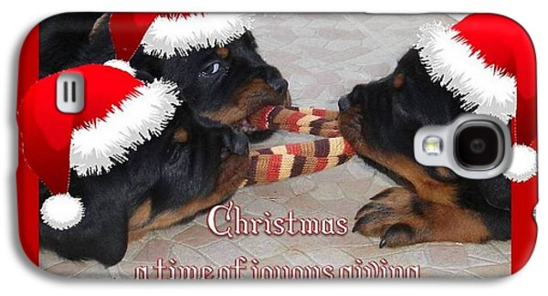Puppies Digital Art Galaxy S4 Cases - Christmas Rottweilers A Time Of Joyous Giving  Galaxy S4 Case by Tracey Harrington-Simpson