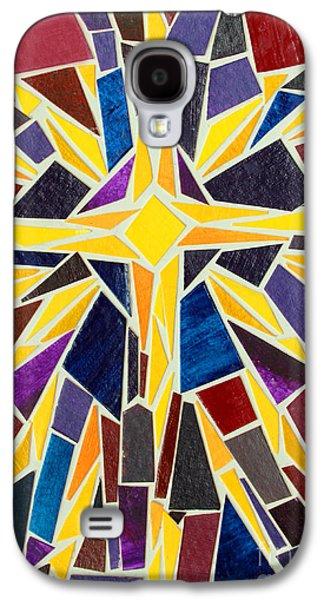 Star Of Bethlehem Galaxy S4 Cases - Christmas Star of Bethlehem Mosaic Christmas Card Galaxy S4 Case by Adam Long