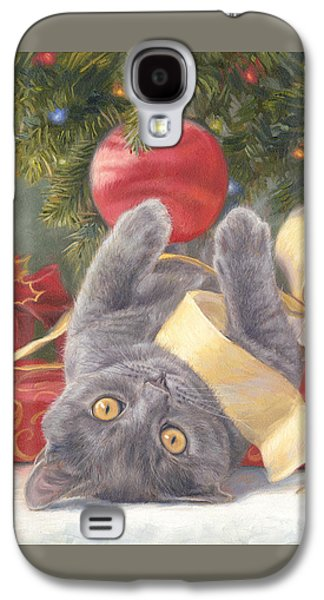 Holiday Paintings Galaxy S4 Cases - Christmas Surprise Galaxy S4 Case by Lucie Bilodeau