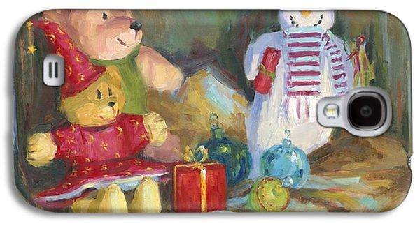 Cheer On Galaxy S4 Cases - Christmas Teddy Bears Galaxy S4 Case by David Garrison