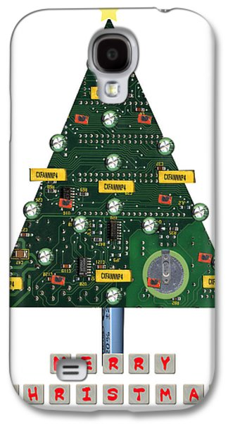 Cutting Galaxy S4 Cases - Christmas Tree Motherboard Galaxy S4 Case by Mary Helmreich