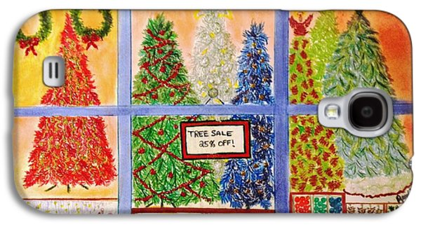 Window Pastels Galaxy S4 Cases - Christmas Tree Sale Galaxy S4 Case by Renee Michelle Wenker