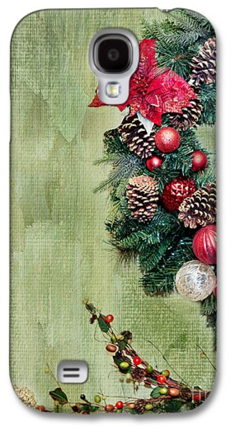 Pine Cones Photographs Galaxy S4 Cases - Christmas Wreath Galaxy S4 Case by Rebecca Cozart