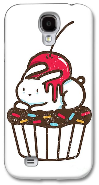 Cartoon Galaxy S4 Cases - Chubby bunny on cupcake Galaxy S4 Case by Budi Kwan