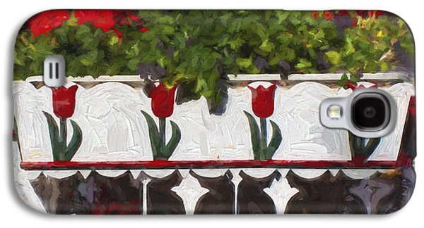 Red Geraniums Galaxy S4 Cases - Church Camp House Detail Painterly Series 6 Galaxy S4 Case by Carol Leigh