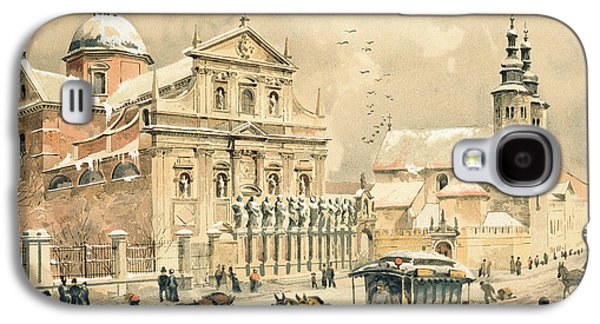 Street Drawings Galaxy S4 Cases - Church Of St Peter And Paul in Krakow Galaxy S4 Case by Stanislawa Kossaka