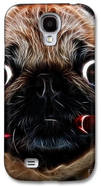 Best Sellers -  - Puppy Digital Galaxy S4 Cases - Cigar Puffing Pug - Electric Art Galaxy S4 Case by Wingsdomain Art and Photography
