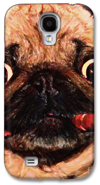 Fuzzy Digital Art Galaxy S4 Cases - Cigar Puffing Pug - Painterly Galaxy S4 Case by Wingsdomain Art and Photography