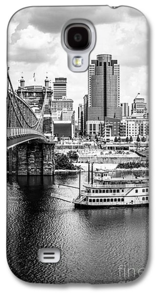 Steamboat Galaxy S4 Cases - Cincinnati Riverfront Black and White Picture Galaxy S4 Case by Paul Velgos