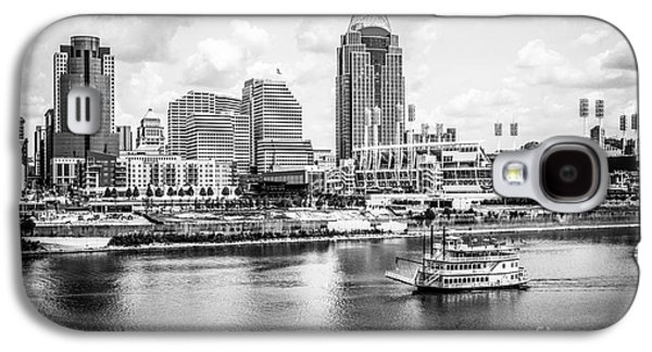 Steamboat Galaxy S4 Cases - Cincinnati Skyline and Riverboat Black and White Picture Galaxy S4 Case by Paul Velgos
