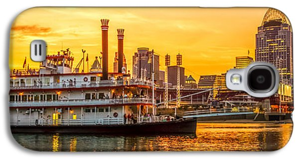Steamboat Galaxy S4 Cases - Cincinnati Skyline and Riverboat Panorama Photo Galaxy S4 Case by Paul Velgos