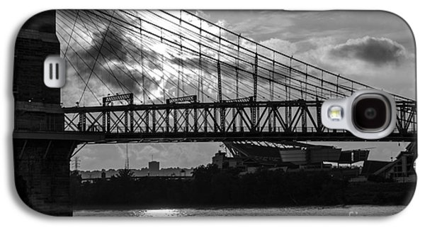 A Summer Evening Landscape Galaxy S4 Cases - Cincinnati Suspension Bridge Black and White Galaxy S4 Case by Mary Carol Story