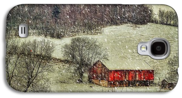 Red Barn In Winter Galaxy S4 Cases - Circa 1855 Galaxy S4 Case by Lois Bryan