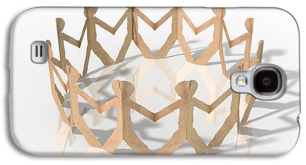 Cardboard Galaxy S4 Cases - Circle Of Cutout Paper Cardboard Men Galaxy S4 Case by Allan Swart